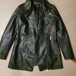 Suzy Shier Long Faux Leather Jacket BNWOT